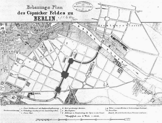 The plans from 1843 with clearly marked length of the canal and the faithful curve at the NE corner of Engelbecken.