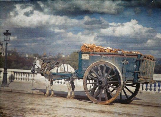 Paris-in-Colour-9 horse cart on the bridge