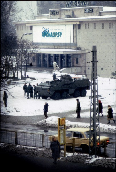 "Almost too good to be true: Warsaw ""Cinema Moskow"" was showing ""Apocalypse Now"" as the tanks gathered outside (photo: Chris Niedenthal)"