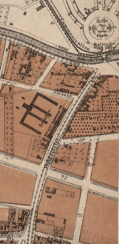 Tempelhofer Strasse on Hobrecht´s map of Berlin of 1863