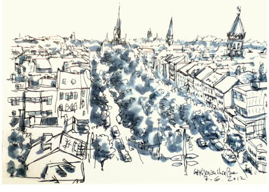Yorckstrasse seen from Kreuzberg Rathaus by Detlef Surrey