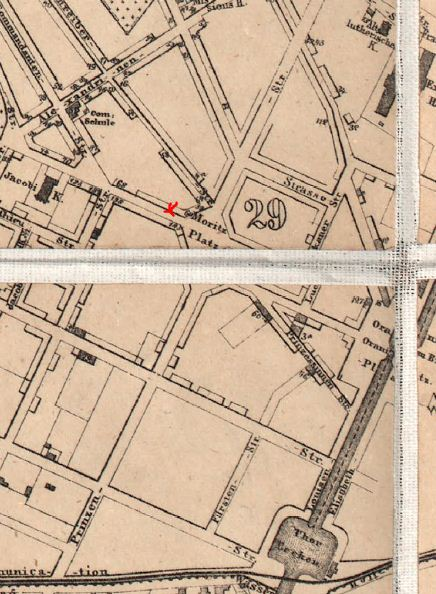 The area of Moritzplatz Krawallen of 1863 with Oranienstrasse 64 marked in red