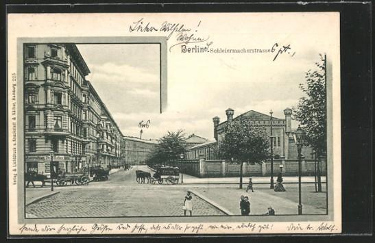 Schleiermacherstrasse seen from Gneisenaustrasse around 1899