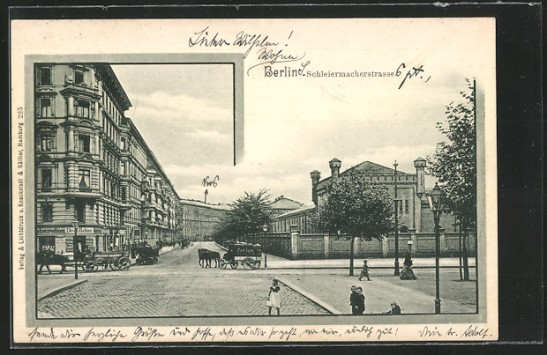 Schleiermacherstrasse seen from Gneisenaustrasse around 1899