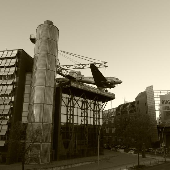 Deutsches Technikmuseum with Berlin Airlift hero: Douglas C-47 Skytrain on its facade