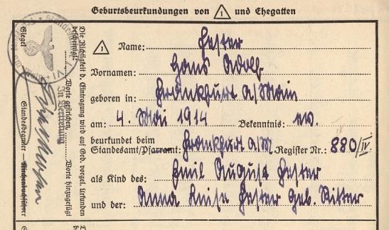 1914 birth certificate in handwritten Sütterlin - from the files of the central cemetary in Frankfurt am Main (through http://www.frankfurter-hauptfriedhof.de)