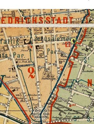 The old Jerusalemkirche Parish on Berlin map 1874 (the church marked in yellow)