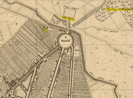 marked map of MEHRINGPLATZ HALLESCHES TOR UPSTALL AND THE CANAL IN 1757