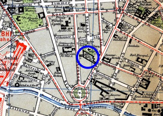 Berlin Sternwarte (Observatory) on the map from 1896