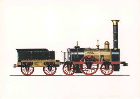 Stephenson´s Adler steam locomotive used in Germany since 1835