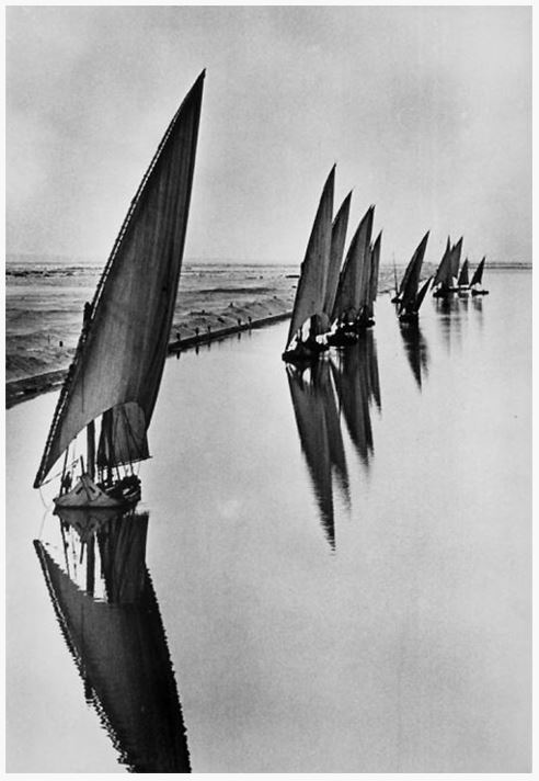 egyptian fishing boats on the suez canal in 1935