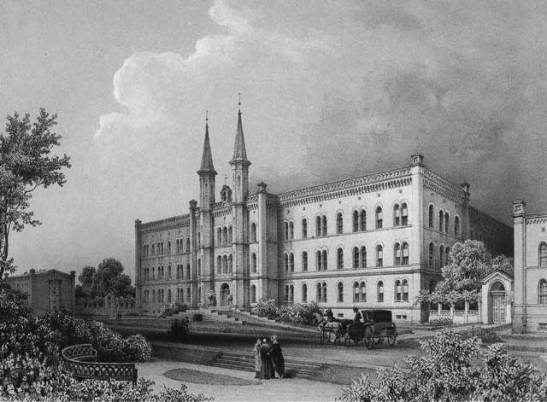 Bethanien Hospital in 1850 (two years before Luisenstätdtischer Kanal was built behind it)