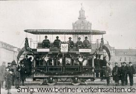 Horse-drawn tram A.D. 1887: here in Berlin Charlottenburg (photo: berliner-verkhersseiten.de)