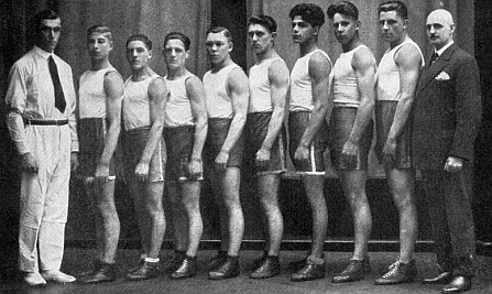 Johann Trollmann (3rd fighter from the right) before he was banned from the club in June 1933.