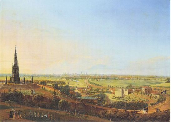 Tempelhofer Vorstadt seen from the top of Kreuzberg (the hill) in 1829 in a painting by Heinrich Hintze