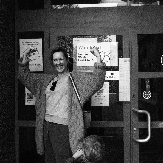 GIDDY AND PROUD Mme BALLOT LEAVES THE BUIDLING (photo: mr notmsparker)