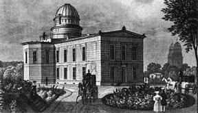 Königliche Sternwarte Berlin, gebaut 1832-1835 nach Plänen von Friedrich Schinkel, Außenansicht um 1873