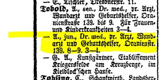 Berlin Directory entry for Dr Tobold Senior and Junior, 1860.