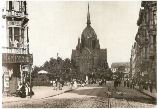 The church in Blücherstrasse around 1895 seen from the no longer existing Blücherplatz (none of the houses seen in this photo remain while the pretty, leafy plaza in front of the church itself was replaced by the extension of Zossener Strasse).