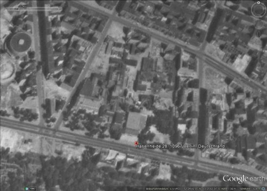 The approximate location of the cinema on a Google-Earth image from 1953