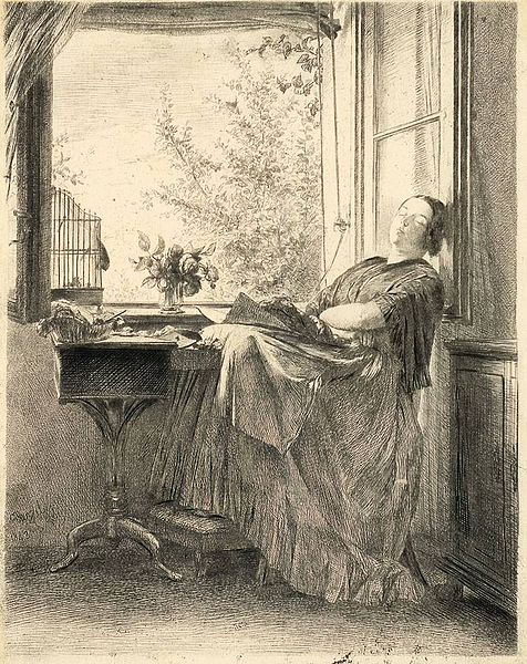 Die Schlafende Näherin (The Sleeping Seamstress) portraying Menzel´s sister, Emilie in 1843.