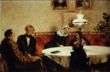Abendgesellschaft (The evening company), 1847 with Menzel´s family at the table in Ritterstrasse 43 and with Menzel himself sitting in the foreground with his back facing the on-lookers.