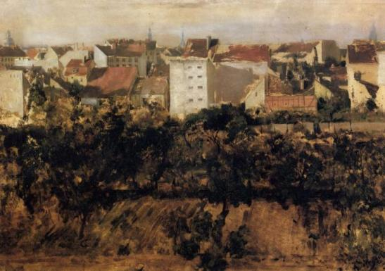 Behind the houses in Ritterstrasse, 1847 (today at the Alte Nationalgalerie in Berlin)