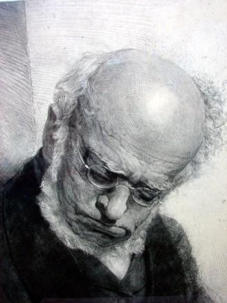 The sleeping Adolph von Menzel drawn by Erich Heermann in 1880.