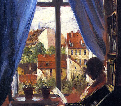 A detail from Menzel´s painting The Artist in His Bedroom, painted in Ritterstrasse 43 and with the view out of Menzel´s window (1847)