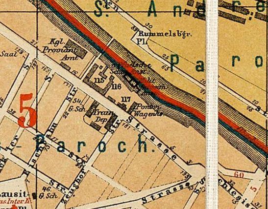 Schwimmanstalt in 1874 (Straubes Berlin Stadtplan)