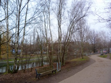 The closest to the original perspective I could get - the bridge is hardly visible behind the trees planted here after Berlin Wall was torn down.