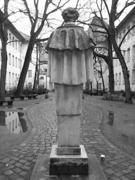 Uhland looking down the courtyard of Leibniz-Gymnasium in Schleiermacherstrasse in Kreuzberg.