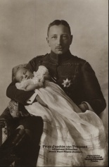 Prince Joachim von Preußen with his infant son, Karl Franz Josef von Preußen after his christening (Karl Franz Josef was born on December 15th, 1916 - two days before his father´s 26th birthday).