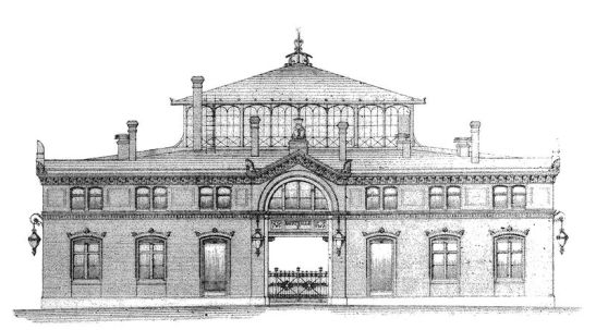 The facade of Markthalle XI as designed by Hermann Blankenstein.