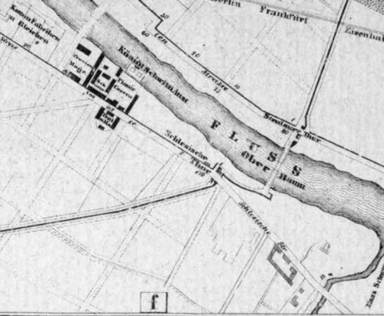 Schlesische Strasse on Boesche´s plan of Berlin from 1842