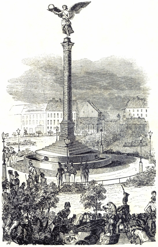 The Unveiling of the Friedenssäule with Viktoria on top in 1843