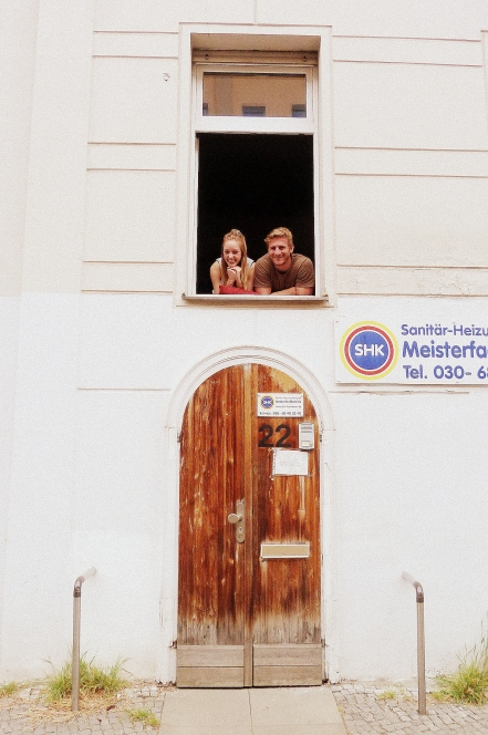 Kiki and Moritz at the window of Kiki's flat in Kreuzberg SW61.