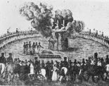 The burning of Delitz and Horst in 1813, a lithography.