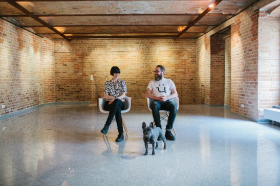 Zoe and James of Überlin with Olive, the former Chief Happiness Officer at Factory at their new co-working space in Kreuzberg.