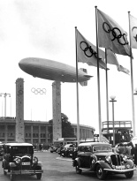 hindenburg over the olympia stadion summer 1936