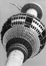 TheFernsehturm still under construction on June 25, 1968 (image through Bundesarchiv).