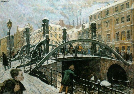 Jungfernbrücke by Hans Baluschek