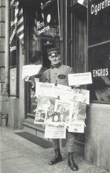 Berlin newspaper seller at work in 1926.