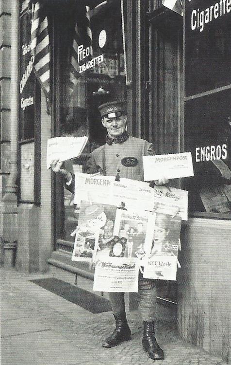Berlin newspaper seller at work in 1926.