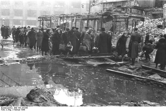 Oranienstrasse at Moritzplatz after February 3rd, 1945 - the ruins of the department store of Wertheim visible in the background (image through Bundesarchiv).