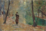 """Partie am Neuen See im Tiergarten"" painted by Lesser Ury some time between 1910 and 1920."