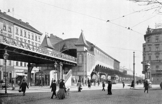The original Bahnhof Kottbusser Tor on today´s U1 Line in 1902 (the station demolished in 1928-29).