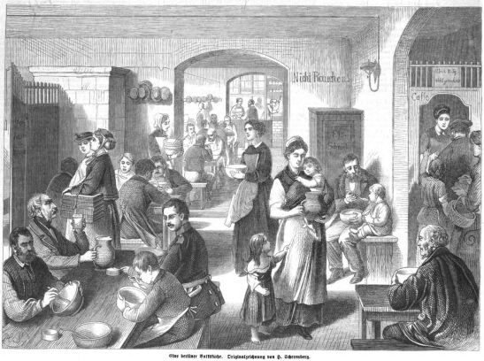 "Berliner Volksküche or Suppenküche - a soup kitchen for the poor opened almsot every winter since 1801 and serving hearty, healthy soups that were far from being a ""Plempe""; here in ""Illustrierte Zeitung,  Bd. 51 (1868). (image though Bayerische Staatsbibliothek)."