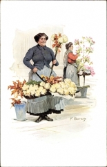"Flower seller from Potsdamer Platz (from the postcard series ""Berliner Typen"" around 1914)"