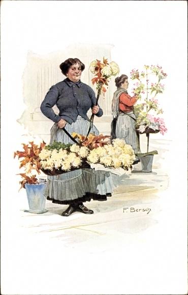 "Flower seller from Potsdamer Platz (from the postcard series ""Berliner Typen"" around 1914)"